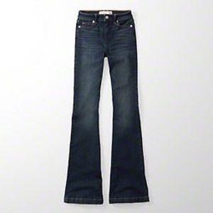 Womens High Rise Skinny Flare Dark Wash Jeans